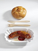 Currywurst (sausage with ketchup & curry powder) with bread roll