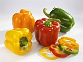 Red, green, yellow and orange peppers