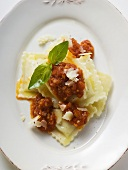 Ravioli with mince and tomato sauce