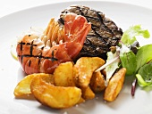 Grilled beef steak and shrimp with country potatoes