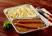 Lentils with bockwurst sausages & spaetzle noodles