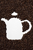 Coffee beans in shape of a coffee pot