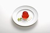 Raspberry jelly with custard
