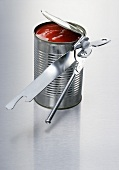 Opened tin of tomatoes with tin opener