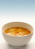 Chicken noodle soup in a soup bowl