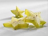 Three slices of carambola