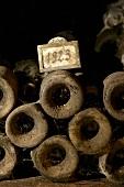 Alte Weinflaschen im Weinkeller Jean-Louis Trapet, Burgund