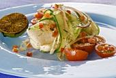 Gebratenes Forellenfilet mit Tomaten-Gurken-Salat