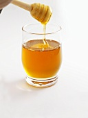 Honey in glass and on honey dipper