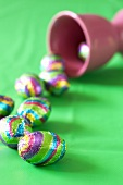 Chocolate eggs in coloured foil