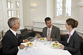 Two men and a businesswoman having a meal