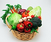 Assorted types of vegetables in a basket