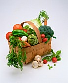 A basket with assorted types of vegetables
