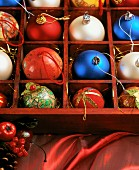 Christmas baubles in case