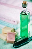 Toiletries: soaps, hairbrush and bath oil