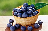 Lots of blueberries in a basket