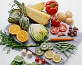 Assorted ingredients for a fruit and vegetable day