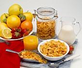 Vollwert-Frühstück mit Obst, Saft, Milch und Getreideflocken