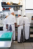 Chefs having a discussion in a commercial kitchen (rear view)