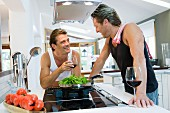 Same-sex couple in kitchen