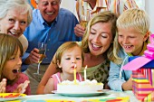 Child's birthday party with family