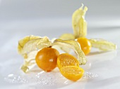 Physalis (Cape gooseberries) with drops of water