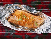 Salmon trout on a barbecue