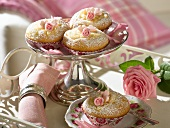 Muffins on a small silver stand