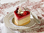 Small heart-shaped cake with raspberry