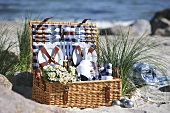 Picnic basket by the sea