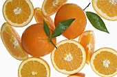 Oranges, whole, halves and wedges