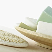 Several soaps in soap dish