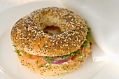 Bagel filled with salmon