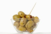 Marinated olives in glass dish