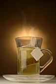 Glass of tea with tea bag