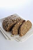 Wholegrain bread on tea towel