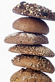 Stack of different types of wholegrain bread