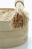 Bamboo baskets with bamboo whisk
