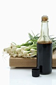 Spring onions and soy sauce