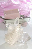 Quartz crystals and soap