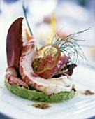 Lobster on avocado puree