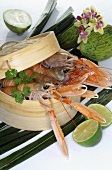 Prawns in bamboo basket