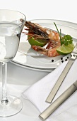 Prawn with pieces of lime
