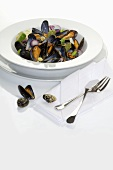 Mussels with onions and bay leaves
