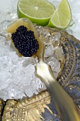 Caviar on mother-of-pearl spoon, crushed ice, pieces of lime