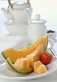 Healthy breakfast: melon and tea