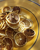 Dried lemon slices on plate