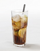 Drink with lime and ice cubes