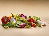 Still life of salad ingredients
