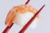 A prawn nigiri sushi